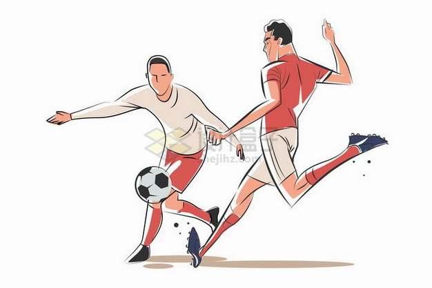 球场上争抢踢足球的两个运动员手绘插画png图片素材