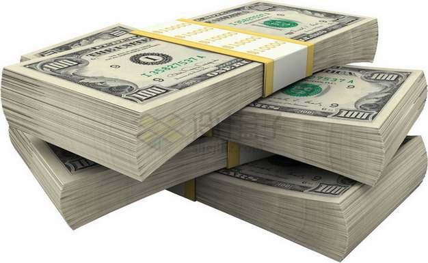 叠放在一起的美元钞票纸币png图片素材