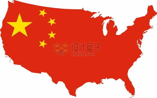 印有中国国旗五星红旗的美国地图png图片素材