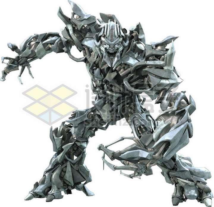 金属银色的威震天变形金刚png图片免抠素材