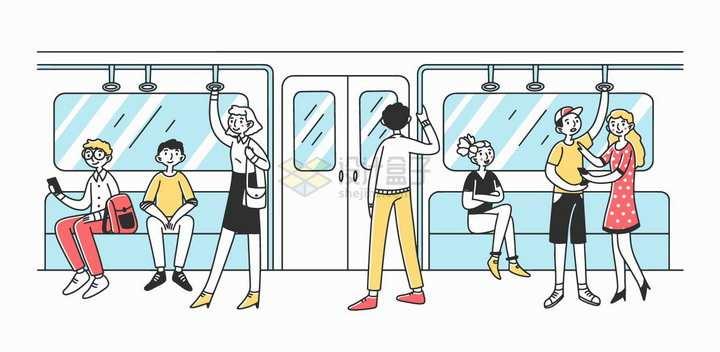 地铁内部场景公共交通手绘插画png图片素材