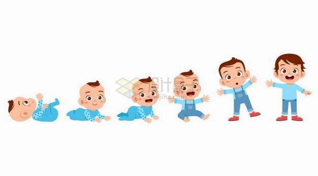 可爱的卡通宝宝学会爬行和站立走路png图片素材