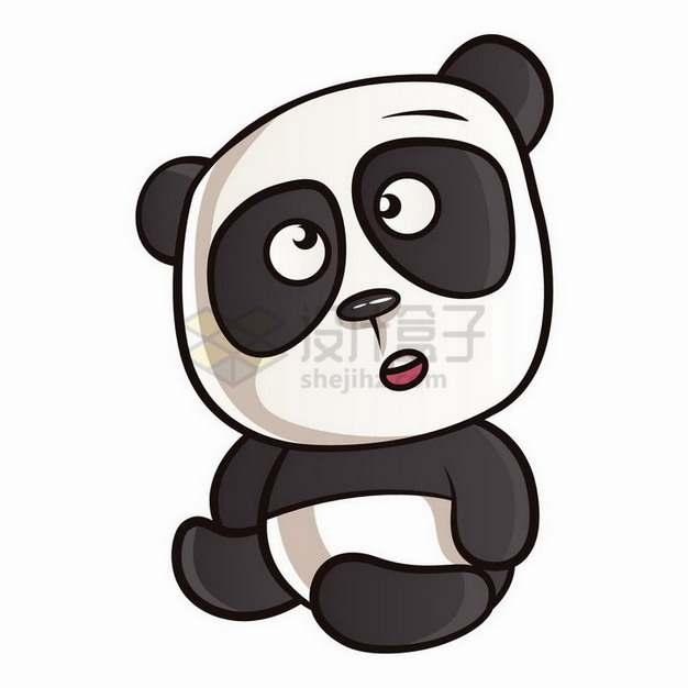 一脸懵逼的卡通熊猫png图片免抠矢量素材