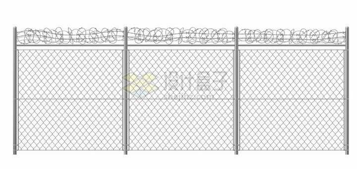 架上铁丝网的监狱围栏高速公路隔离网png图片素材