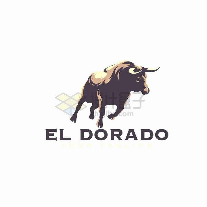 奔跑的公牛logo设计png图片免抠矢量素材