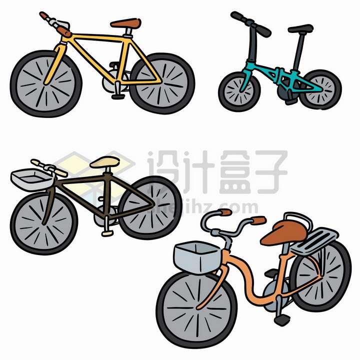 4款彩色自行车手绘简笔画png图片免抠矢量素材