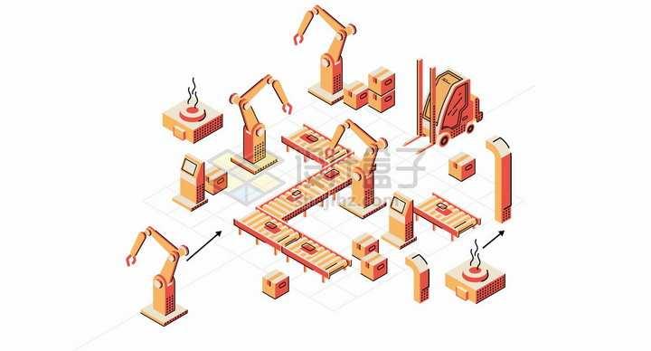 各种橙色的机械手臂和生产流水线叉车png图片素材