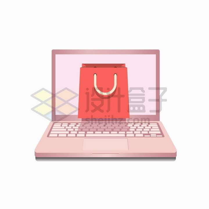 粉红色笔记本电脑和购物袋网络购物png图片免抠矢量素材
