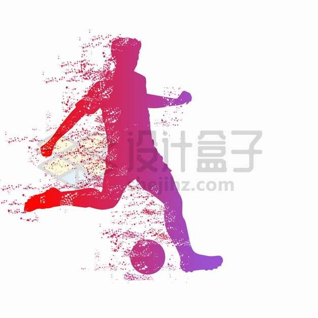 抽象彩色踢足球的运动员体育运动剪影png图片素材