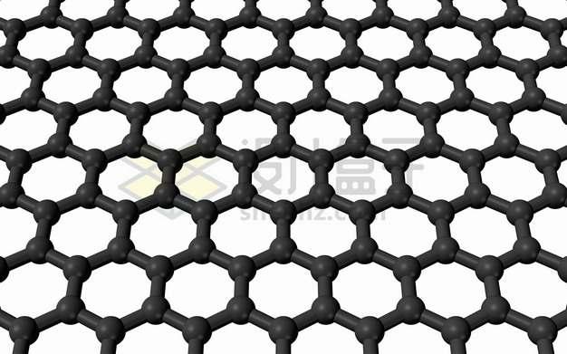 黑色3D立体石墨烯薄膜结构图png图片素材