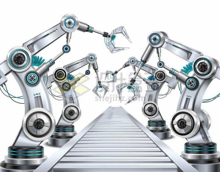 4台金属银色的机械手臂和工厂生产流水线png图片素材