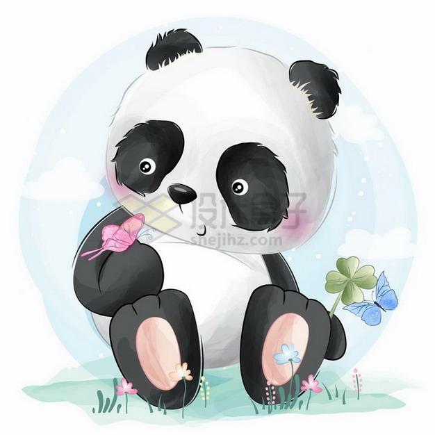 彩绘风格坐在地上的可爱卡通熊猫和蝴蝶png图片免抠矢量素材 生物自然-第1张