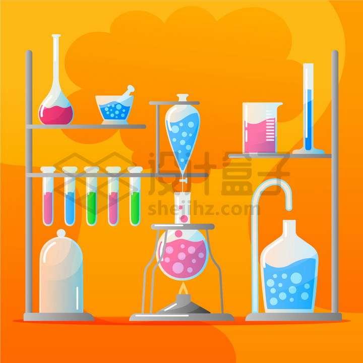 扁平化风格试管烧瓶量筒量杯等化学实验仪器png图片免抠矢量素材