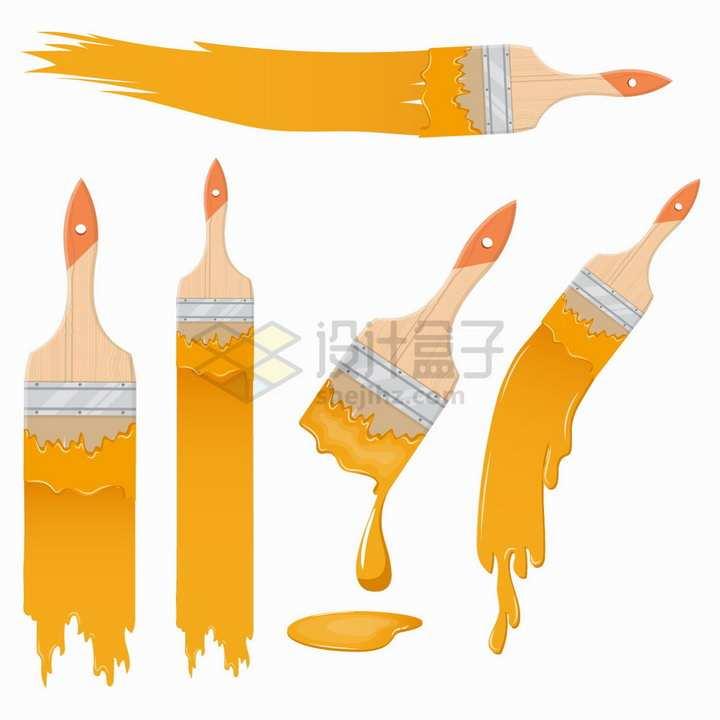 5款油漆刷效果橙色颜料刷子png图片素材