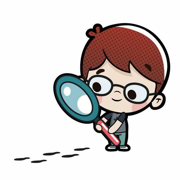 可爱卡通小男孩拿放大镜看地上的脚印png图片免抠矢量素材