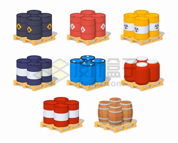 木制托盘上的石油桶燃料桶化工桶汽油桶木桶png图片素材