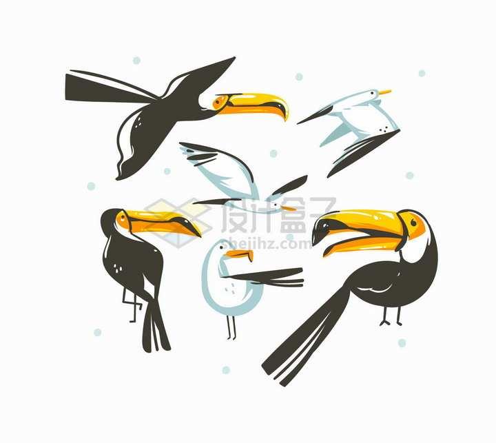 卡通巨嘴鸟海鸥抽象插画png图片素材