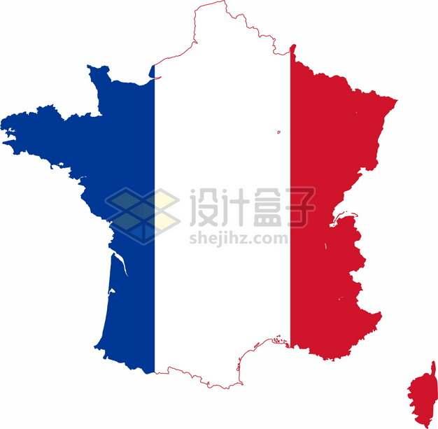 印有国旗图案的法国地图9843083png图片素材