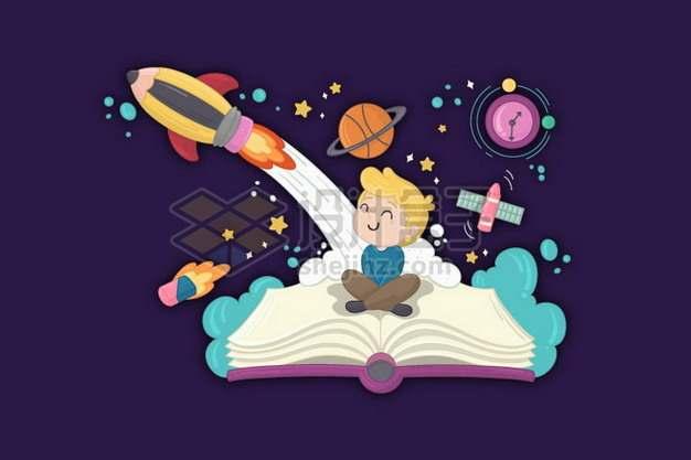 卡通儿童坐在书本上看火箭发射2896454png图片素材