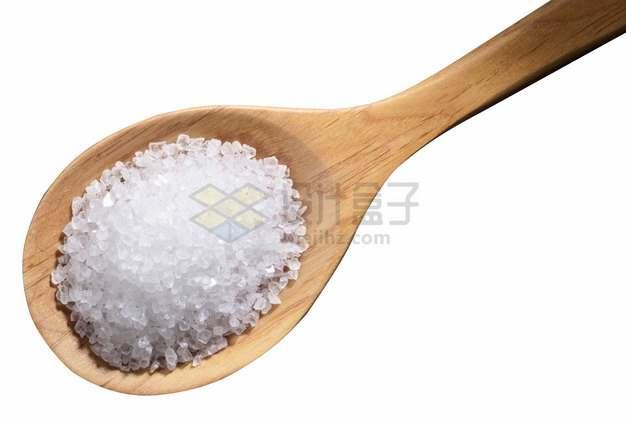 木头勺子上的食盐png图片素材