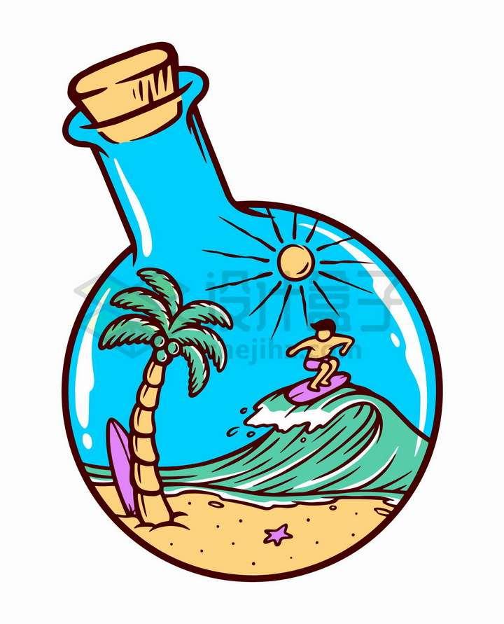 抽象彩色玻璃瓶中的海滩和冲浪的男孩手绘插画png图片免抠矢量素材