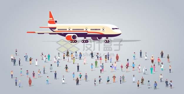 停机坪上的大型客机和等待乘坐飞机的旅客png图片素材