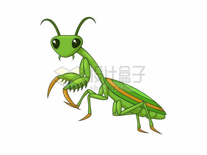 可爱的卡通绿色螳螂png图片免抠矢量素材