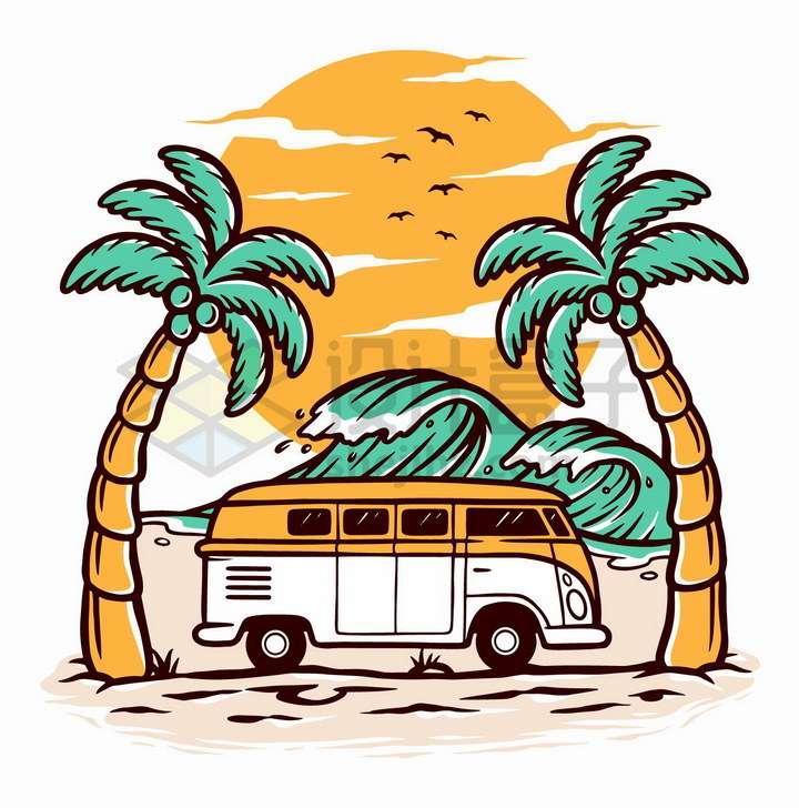 抽象落日大海椰子树和旅行车手绘插画png图片免抠矢量素材
