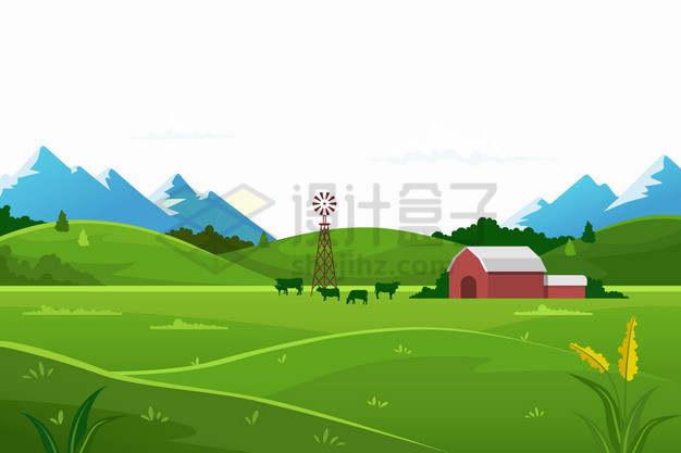 远处的大山近处的草原田野农村乡村风景插画png图片素材