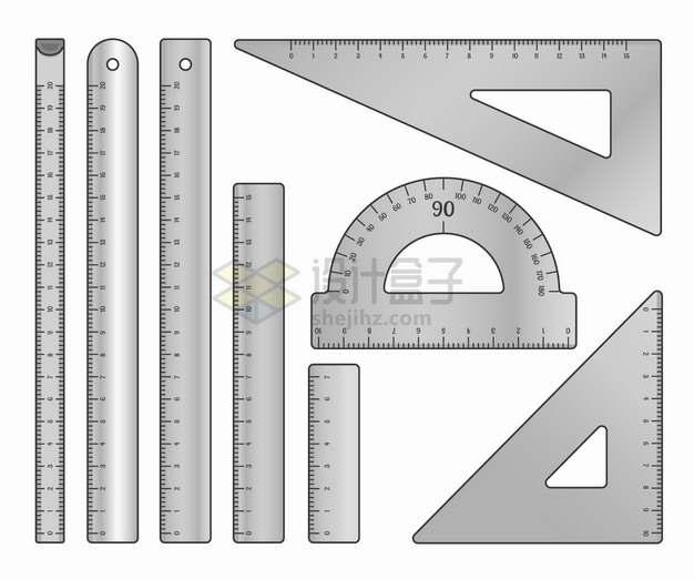 各种灰色的卷尺直尺三角尺量角器等测量工具几何学习用品png图片素材