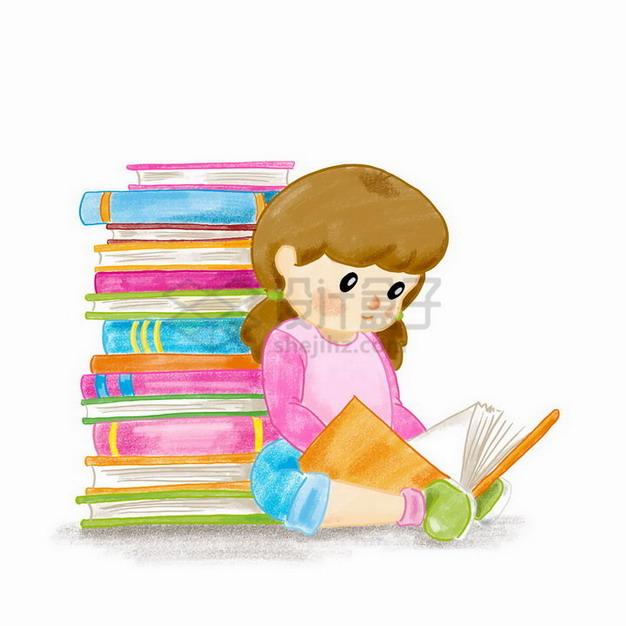彩绘风格背靠着书堆的卡通女孩正在看书读书png图片免抠矢量素材 教育文化-第1张
