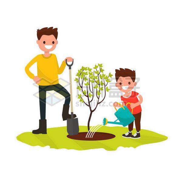 3月12日植树节和爸爸一起种树的卡通小男孩png图片免抠矢量素材 生物自然-第1张