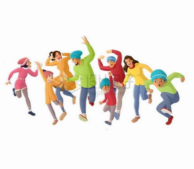 开心向前奔跑的一群人大人小孩png图片素材