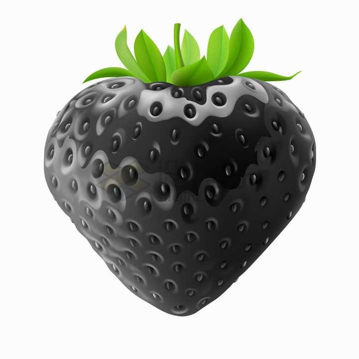 黑色的草莓美味水果png图片素材