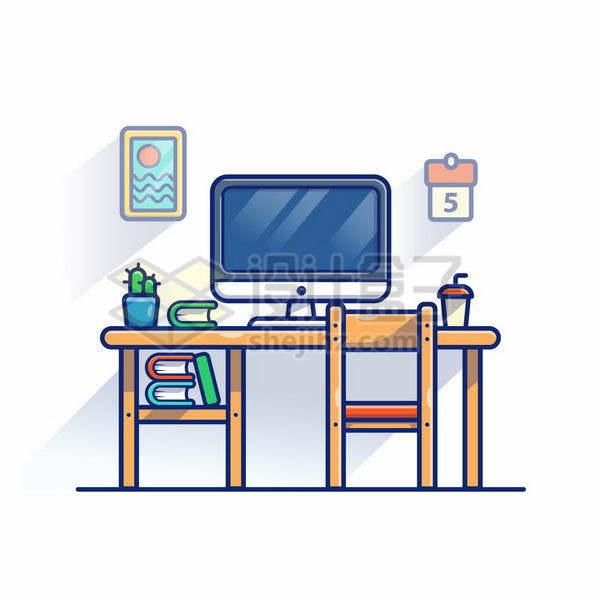 MBE风格木头桌子上的电脑木头椅子png图片免抠矢量素材
