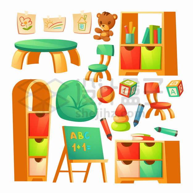 卡通桌子书柜凳子小黑板玩具等幼儿园设施png图片素材