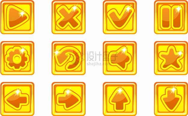 12款方框黄色播放停止按钮方向键对号错号水晶按钮png图片素材