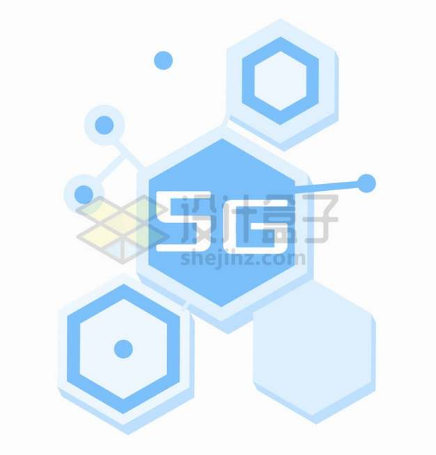 扁平化六边形组成的5G主题装饰png图片素材