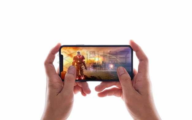 第一人称视角的双手抱着手机玩游戏png图片素材