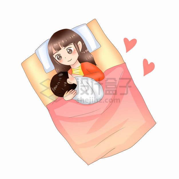 躺在床上喂奶的哺乳期卡通妈妈全国母乳喂养宣传日2176321png图片素材