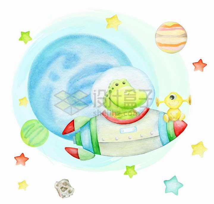 卡通恐龙坐火箭在太空中翱翔水彩画彩绘png图片免抠矢量素材