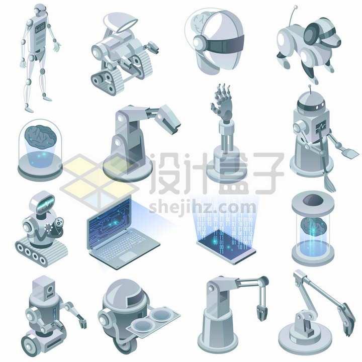 16款工厂机器人机械手臂智能机器人笔记本电脑等png图片素材