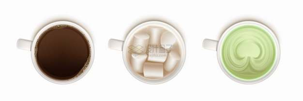 咖啡棉花糖抹茶饮料俯视视角png图片素材