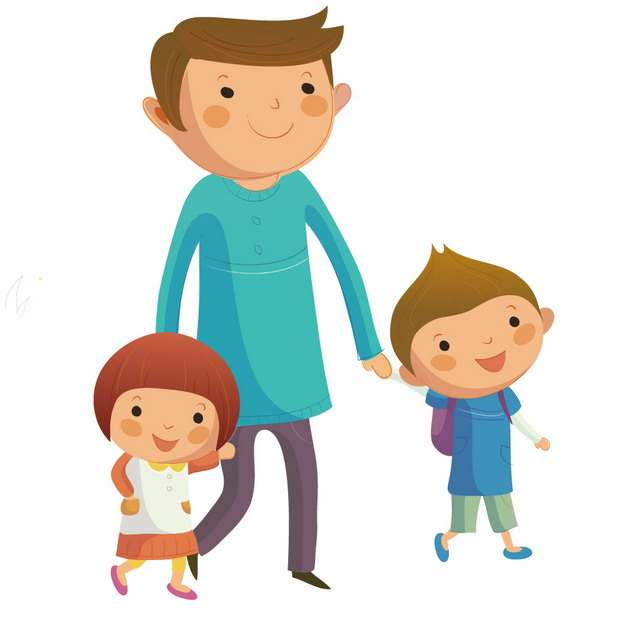 卡通爸爸牵着两个孩子的手png图片素材
