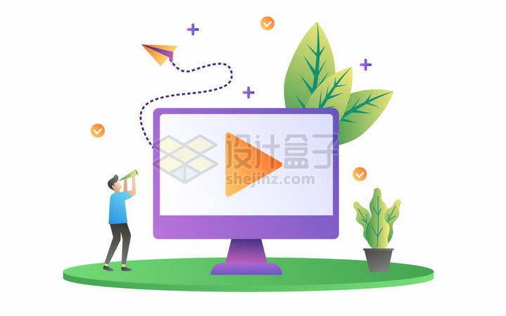 扁平插画风格电脑上的视频播放器png图片免抠矢量素材