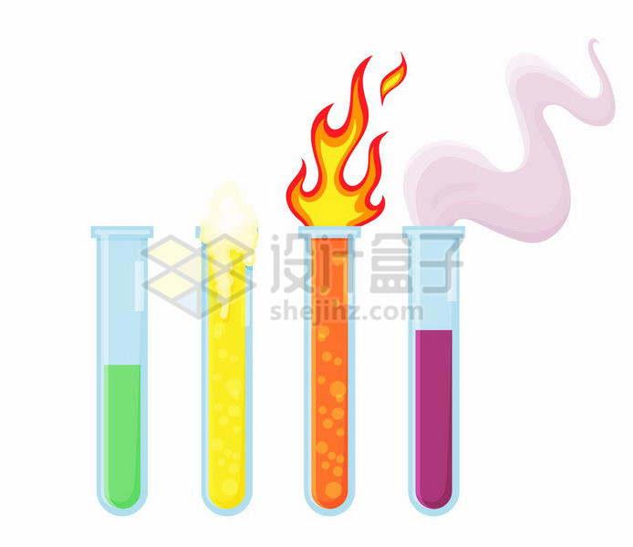 4个扁平化风格产生各种化学反应的试管png图片免抠矢量素材