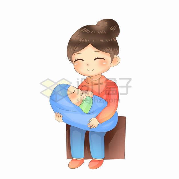 襁褓中喝奶的宝宝全国母乳喂养宣传日png图片素材