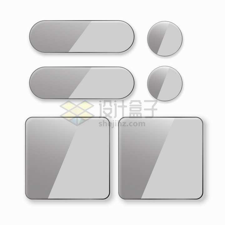银灰色半透明圆角圆形方形玻璃按钮png图片素材