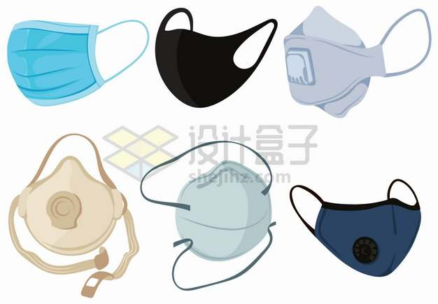 6款一次性医用口罩N95口罩和棉口罩等医疗防护用品png图片素材