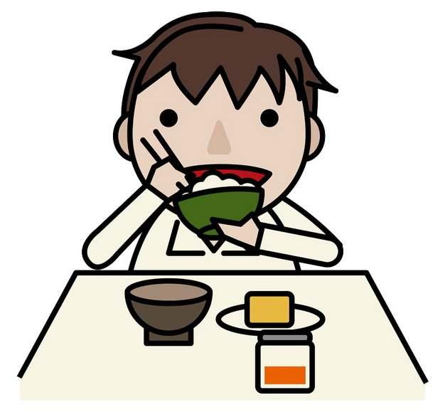 大口吃饭吃菜的卡通学生png图片素材